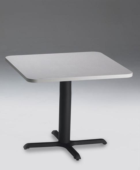 "Mayline Bistro 36"" Square Dining Height Table Black Base, Ice Gray [CA36SLBTFLK]-1"