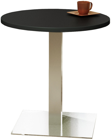 "Mayline Bistro 30"" Round Dining Height Table Stainless Steel, Black [CA30RLSTANT]-1"