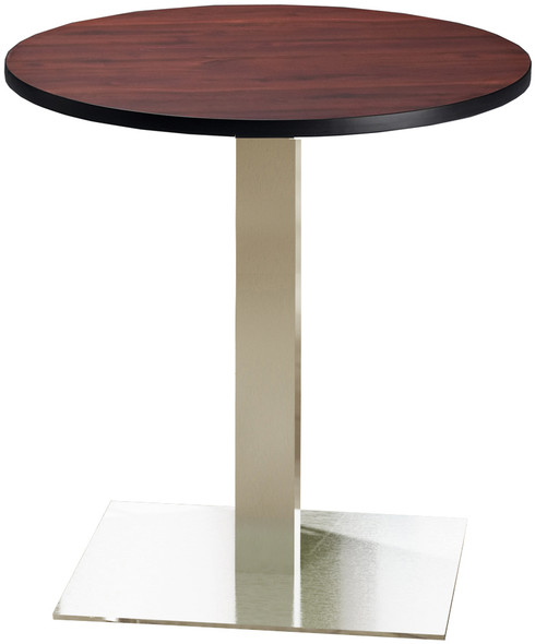 "Mayline Bistro 30"" Round Dining Height Table Stainless Steel, Regal Mahogany [CA30RLSTRMH]-1"