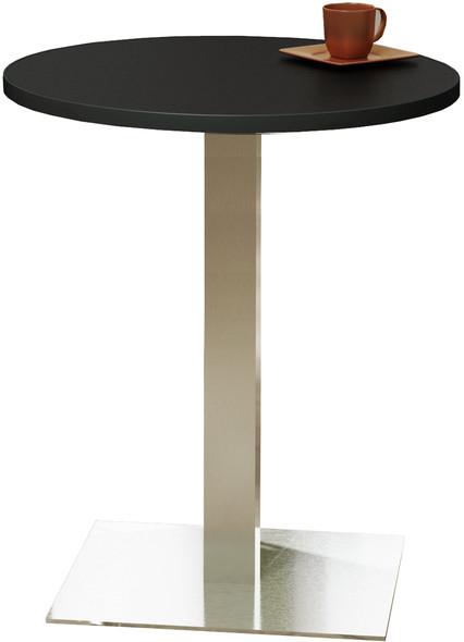 "Mayline Bistro 30"" Round Bar Height Table Stainless Steel, Black [CA30RHSTANT]-1"