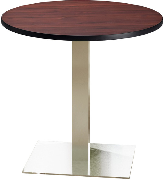 "Mayline Bistro 36"" Round Dining Height Table Stainless Steel, Regal Mahogany [CA36RLSTRMH]-1"