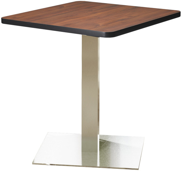 "Mayline Bistro 36"" Square Dining Height Table Stainless Steel, Regal Mahogany [CA36SLSTRMH]-1"