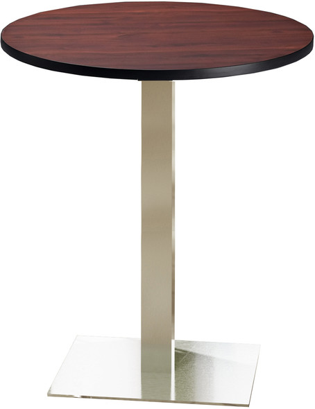 "Mayline Bistro 36"" Round Bar Height Table Stainless Steel, Regal Mahogany [CA36RHSTRMH]-1"