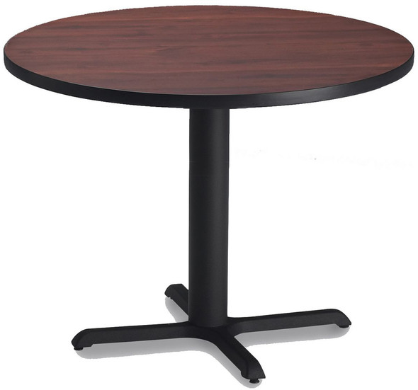 "Mayline Bistro 42"" Round Dining Height Table Black, Regal Mahogany [CA42RLBTRMH]-1"