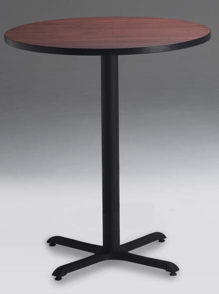 "Mayline Bistro 42"" Round Bar Height Table Black, Regal Mahogany [CA42RHBTRMH]-1"