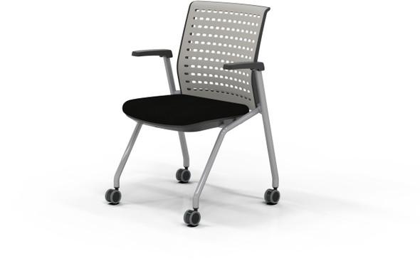 Mayline Thesis Training Chair Flip Arms Black Fabric [KTS1SGBLK]-1