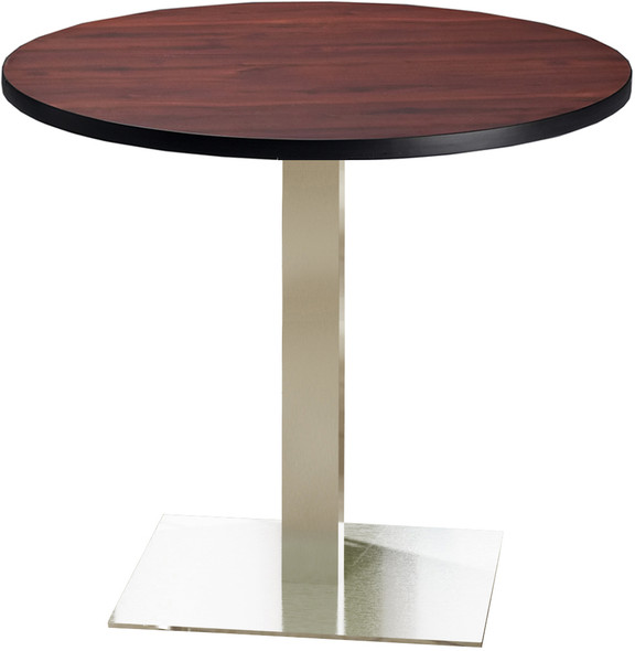 "Mayline Bistro 42"" Round Dining Height Table Stainless Steel, Regal Mahogany [CA42RLSTRMH]-1"