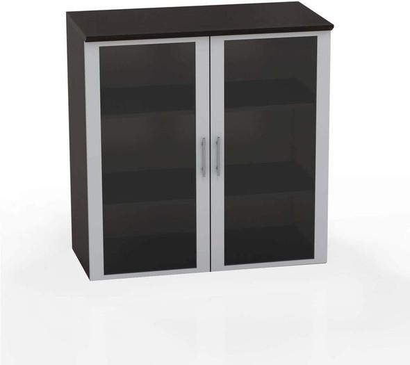 "Mayline Medina 36"" Glass Door Cabinet Mocha [MGDCLDC]"