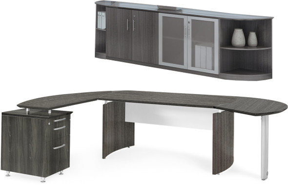Mayline Medina Office Desk Set Gray Steel [MNT9LGS]-1