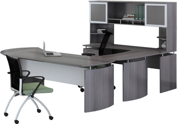 Mayline Medina Office Desk Set Gray Steel [MNT32LGS]-1