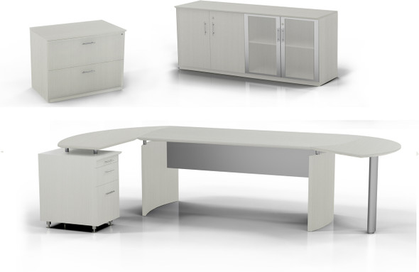 Mayline Medina Office Desk Set Textured Sea Salt [MNT16TSS]-1