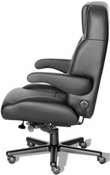 Big and Tall Leather Office Chair with Flip Up Arms [CHIEF-L] -2