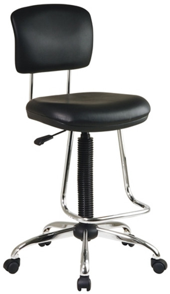 Black & Chrome Armless Drafting Stool [DC420V] -1