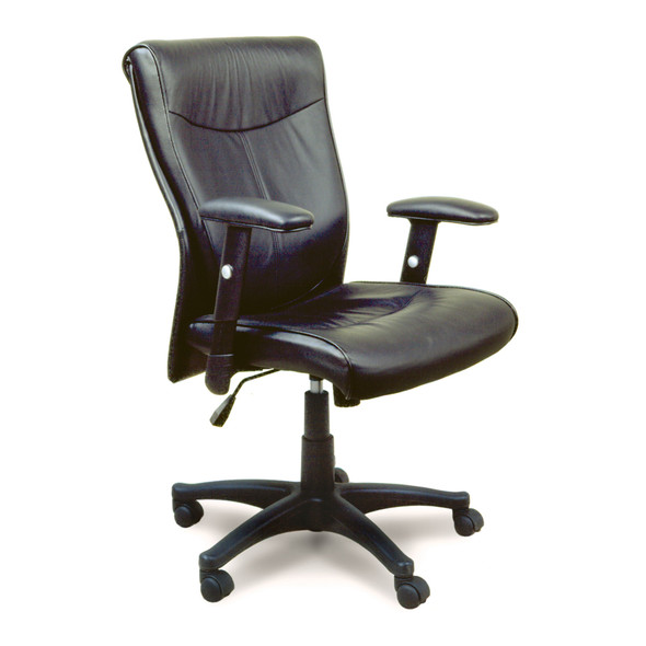 Black Leather Mercado Office Task Chair [2528]