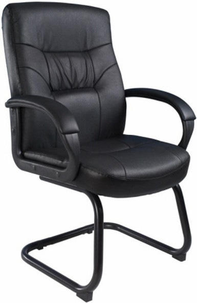 Boss LeatherPlus Sled Base Arm Chair [B7519] -1