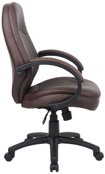 Boss Plush LeatherPlus Conference Chair [B726-BB] -Side
