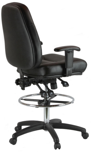 Harwick 100KL Adjustable Leather Drafting Chair with Arms -back