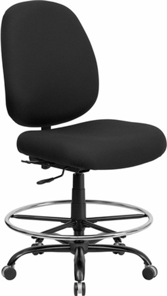 Hercules Armless Big and Tall Black Fabric Drafting Stool [WL-715MG-BK-D-GG] -1