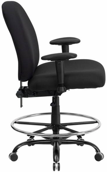Hercules Armless Big and Tall Black Fabric Drafting Stool [WL-715MG-BK-D-GG] -2