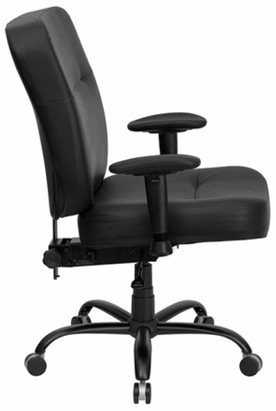 Hercules Black Leather Heavy Duty Task Chair [WL-735SYG-BL-LEA-GG] -2