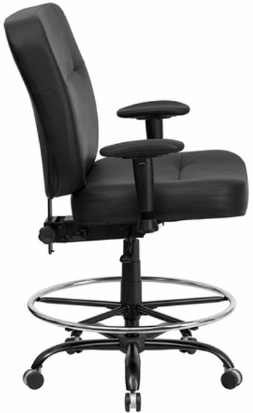 Hercules Heavy Duty Leather Drafting Stool [WL-735SYG-BK-LEA-D-GG] -2