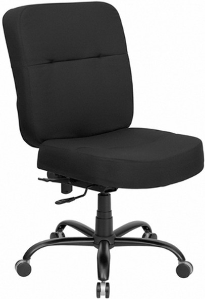 Hercules Series Armless Heavy Duty Office Chair [WL-735SYG-BK-GG] -1