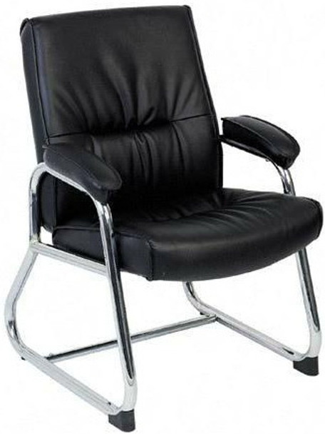 Lorell Chrome Sled Base Leather Guest Chair [60504] -1