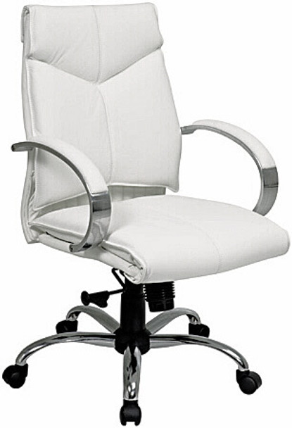 Mid Back Executive White Leather Office Chair [7271] -1