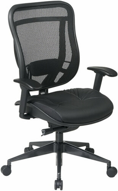 Office Star Mesh Back Chair with Leather Seat [818-41G9C18P] -1