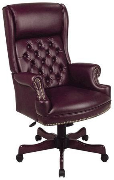 Traditional High Back Chair with Mahogany Finish [TEX228] -1