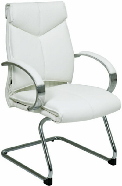 Sled Base White Leather Guest Chair [7275] -1