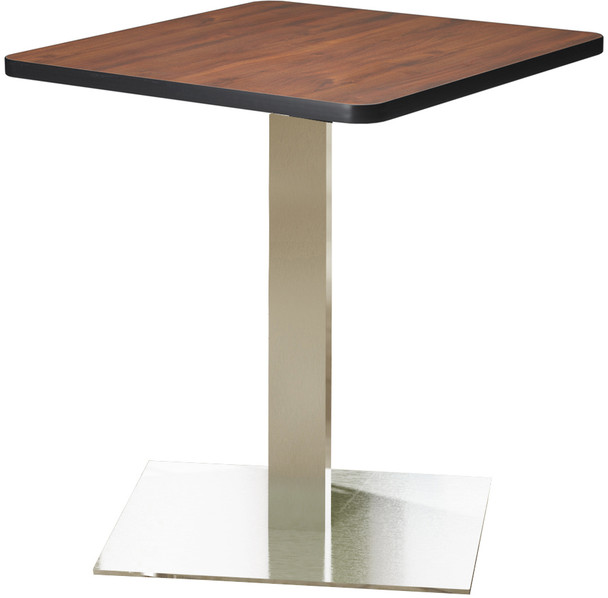 "Mayline Bistro 30"" Square Dining Height Table Stainless Steel, Regal Mahogany [CA30SLSTRMH]-1"