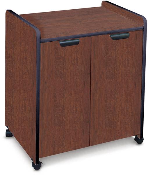 Mayline Mobile Utility Cabinets Laminate Exterior Black, Windsor Mahogany [2110MUMAHBLK]-1