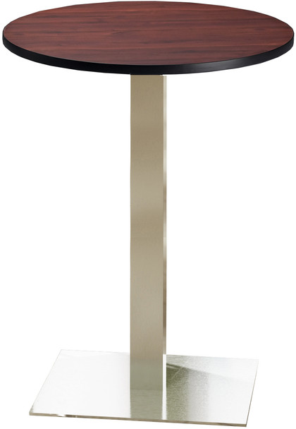 "Mayline Bistro 30"" Round Bar Height Table Stainless Steel, Regal Mahogany [CA30RHSTRMH]-1"