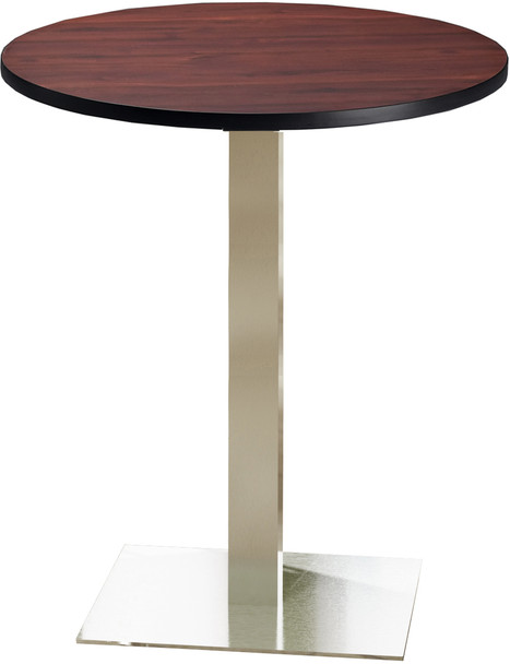"""Mayline Bistro 36"""" Round Bar Height Table Stainless Steel, Regal Mahogany [CA36RHSTRMH]-1"""