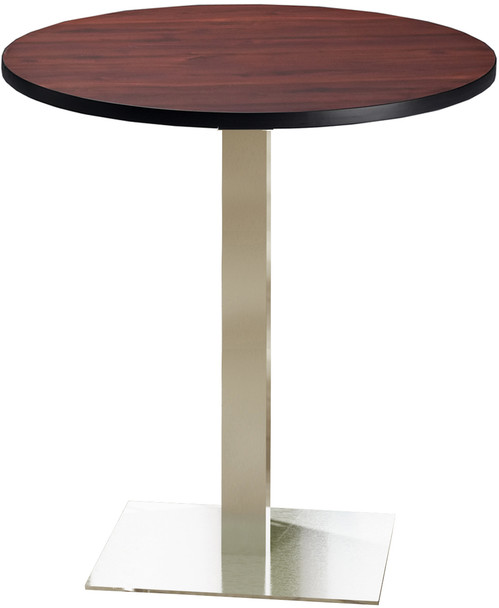 "Mayline Bistro 42"" Round Bar Height Table Stainless Steel, Regal Mahogany [CA42RHSTRMH]-1"
