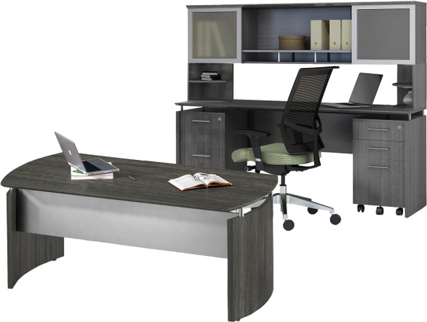 Mayline Medina Office Desk Set Gray Steel [MNT38LGS]-1