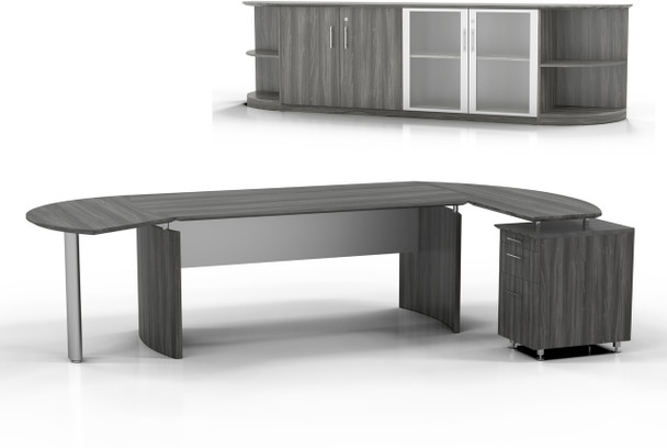 Mayline Medina Office Desk Set Gray Steel [MNT10LGS]-1