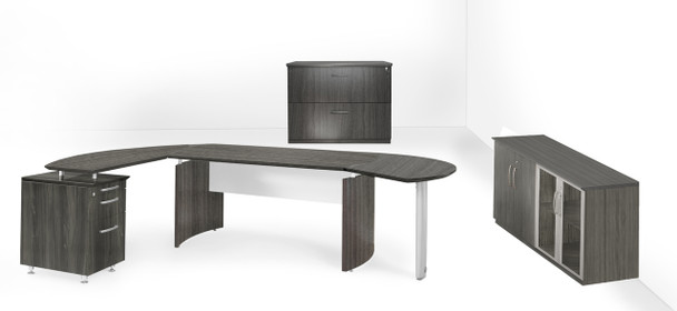 Mayline Medina Office Desk Set Gray Steel [MNT16LGS]-1