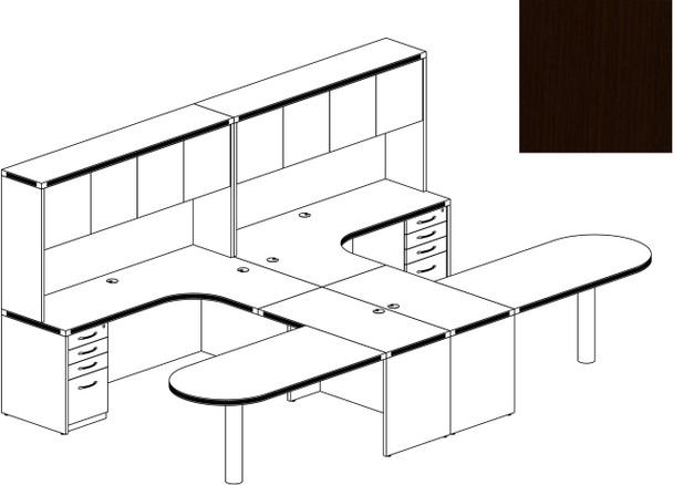 Mayline Aberdeen Office Desk Set Mocha [AT21LDC]-1