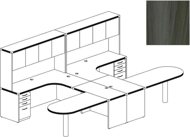 Mayline Aberdeen Office Desk Set Gray Steel [AT21LGS]-1