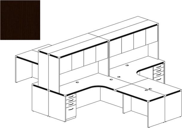 Mayline Aberdeen Office Desk Set Mocha [AT27LDC]-1