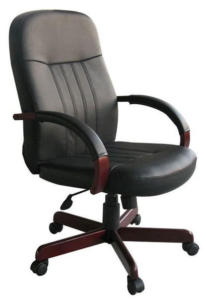 Boss Leather Office Chair with Custom Wood Finish [B8376-M]