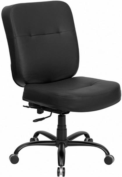 Hercules Black Leather Heavy Duty Task Chair [WL-735SYG-BL-LEA-GG] -1