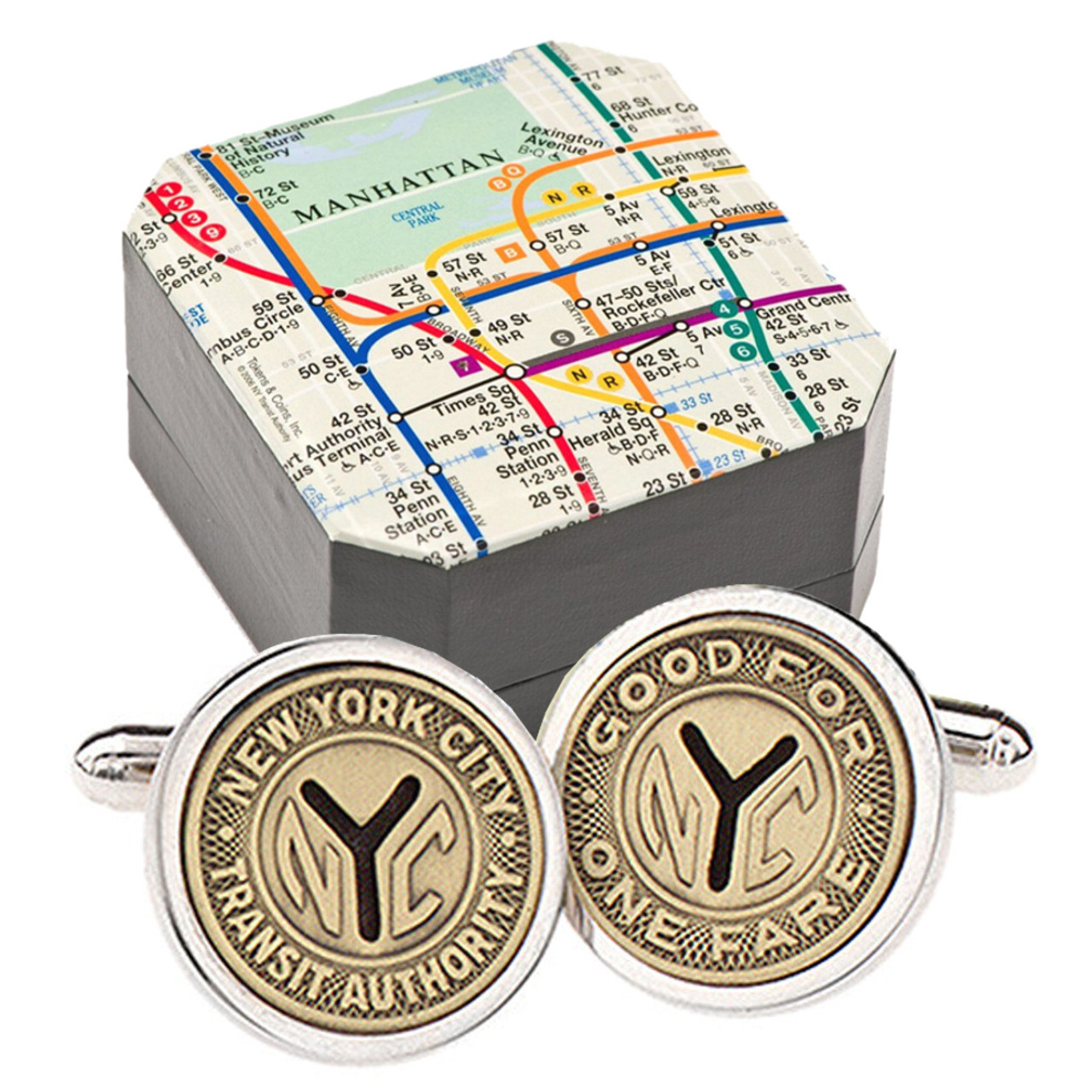 Subway Map Cufflinks.Sterling Silver Nyc Subway Token Cufflinks