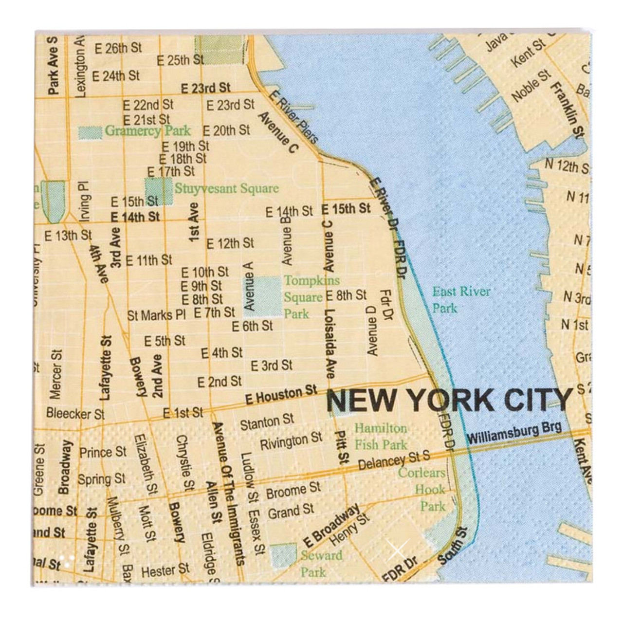 New York Map Of Cities.New York City Map 5 Inch Cocktail Napkins