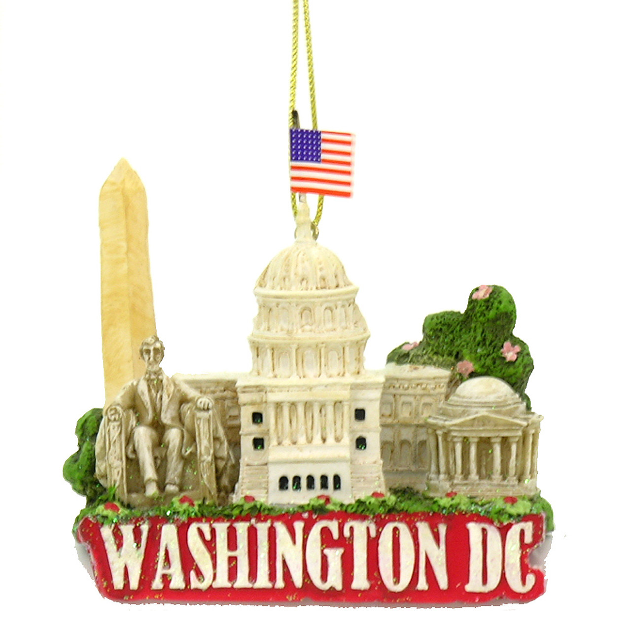 Washington DC Christmas Ornament with Landmarks