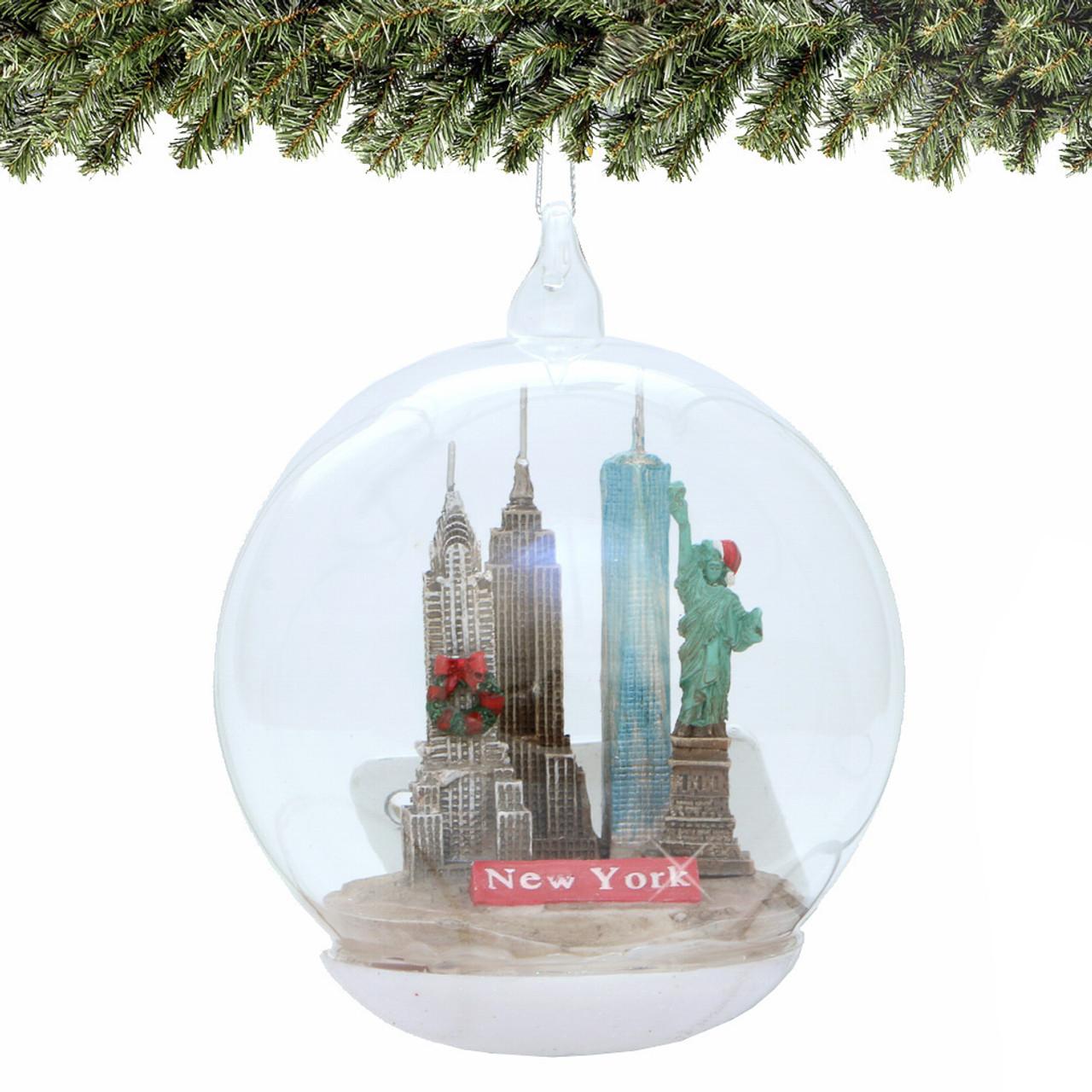 New York City Glass Christmas Ornament, Landmarks Memory Globe