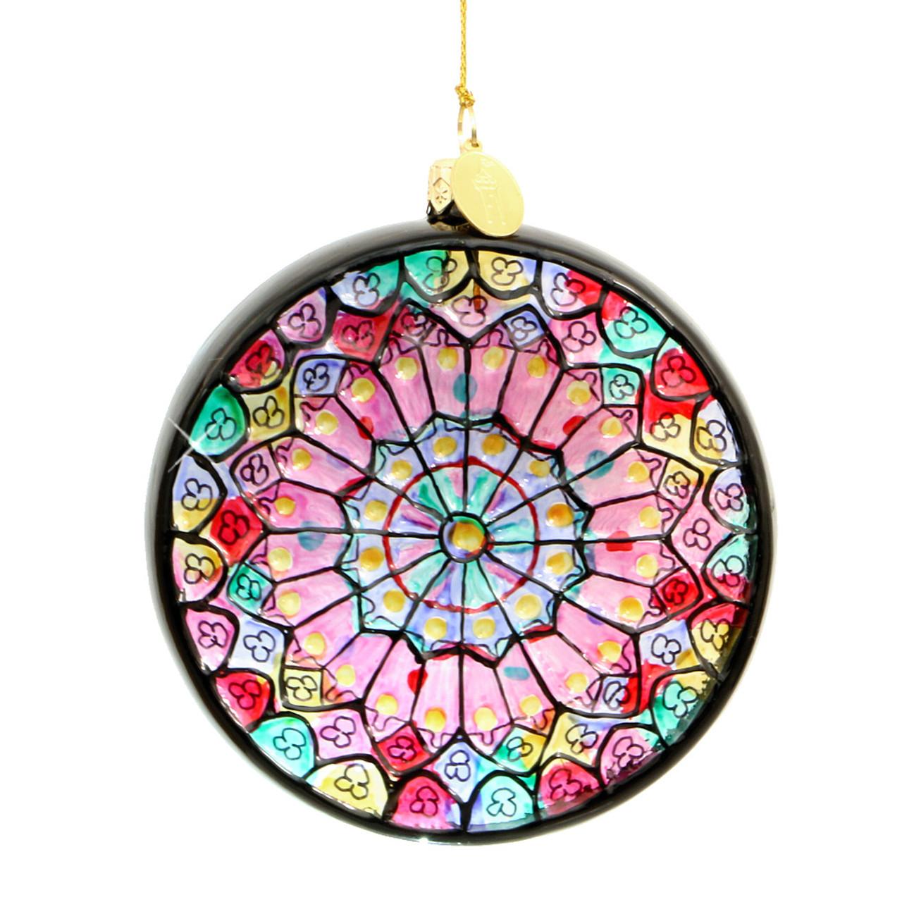 Paris Notre Dame Rose Window Ornament - Glass
