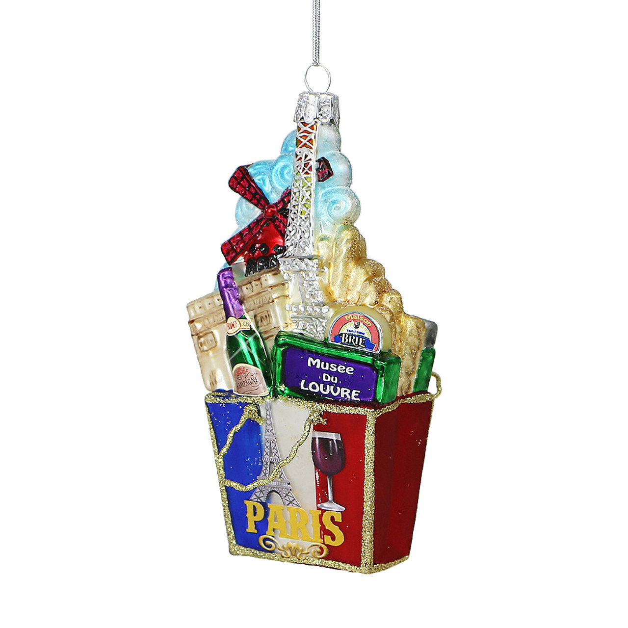 Paris Christmas Ornament.Paris Glass Shopping Bag Ornament